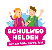 Logo des Schulweg-Helden Programms. Auf die Füsse, fertig, los!