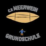 Logo der Meerwein Grundschule. Schriftzug und Zeichnung von einem Mensch an einem Fallschirm