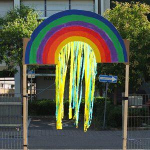 Foto eines auf Karton gemalter Regenbogen mit einem Vorhang aus gelben und blauen Papierstreifen. Der gesamte Regenbogen überspannt den Durchgang, sodass man unten durch laufen muss.