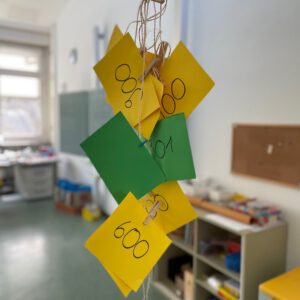Foto von der Decke hängender Schnüre mit gelebn und grünen Zetteln. Diese sind mit Wäscheklammern an der Schnur befestigt und es stehen Zahlen darauf