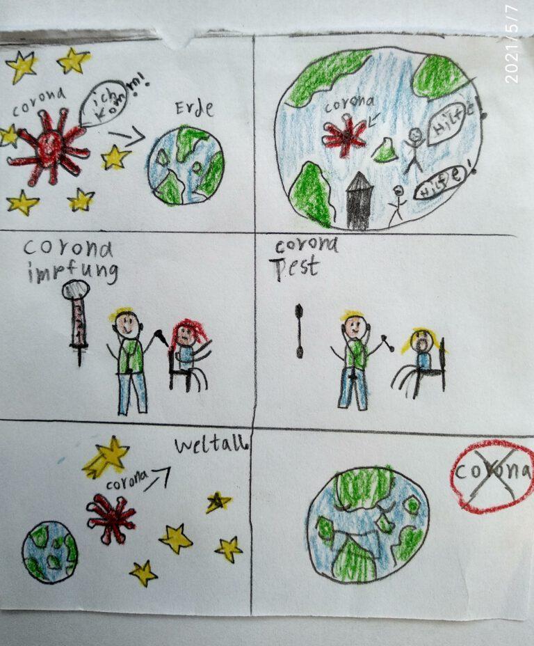 Zeichnung eines Kindes was das Corona-Virus auf der Erde anrichtet