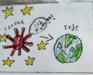 Zeichnung eines Kindes. Das Corona-Virus kommt aus dem Weltall auf den Planeten Erde